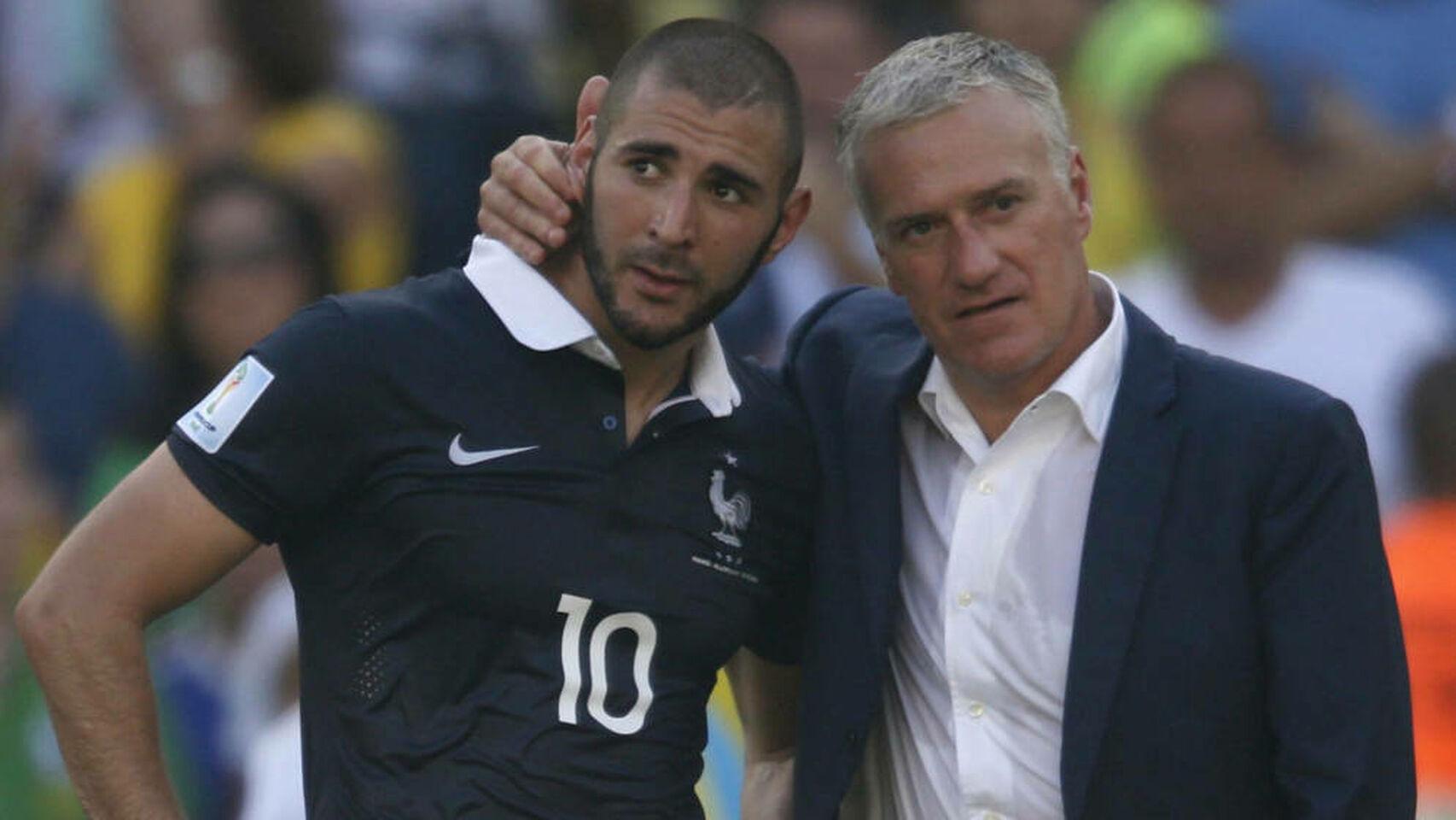 Karim Benzema junto al seleccionador francés, Didier Deshamps / El Español